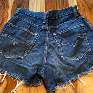 Levi High Waisted Mom Jean Distressed Shorts